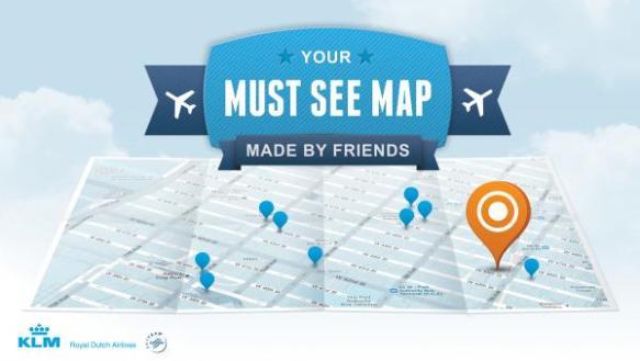 KLM Must See Map carte voyage recommandations amis réseaux sociaux